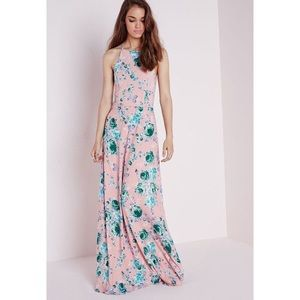 Missguided Peach Strappy Wedding Guest Maxi Dress